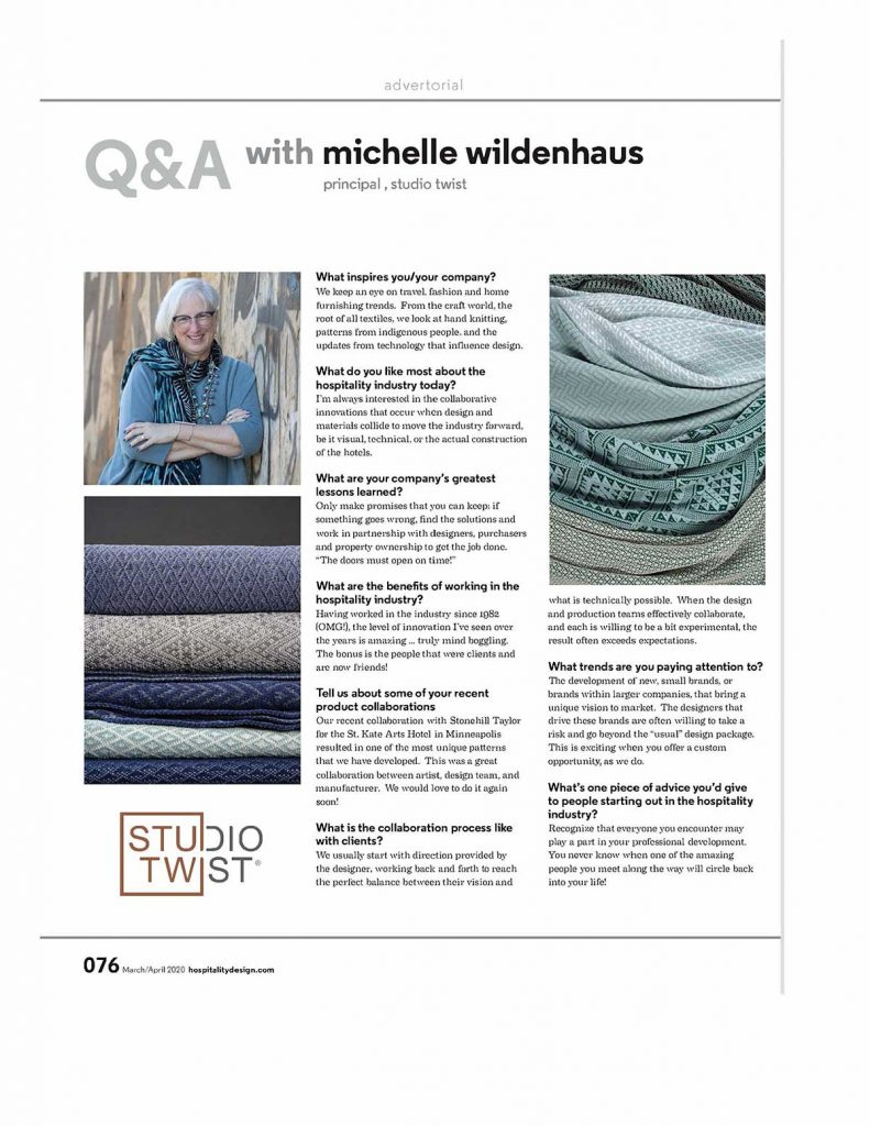 Q&A With Michelle Wildenhaus | Hospitality Design 1 Hospitality Design March April 2020 76 77 Page 1